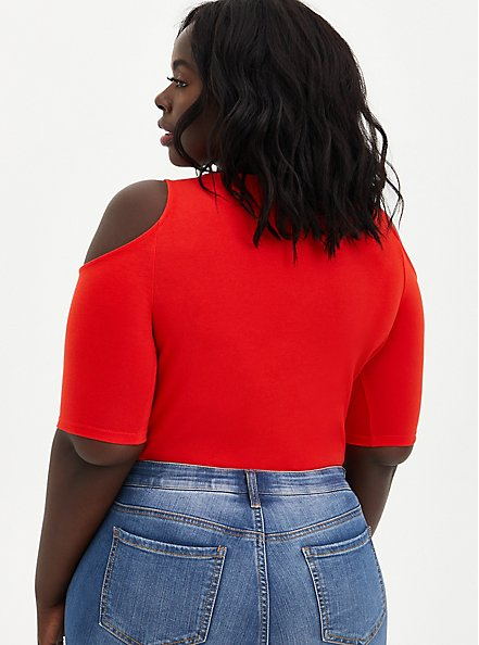 Red Cold Shoulder Lace-Up Foxy Tee, FIERY RED, alternate