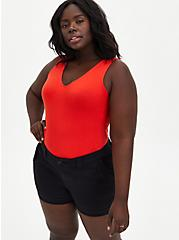 Red Deep V-neck Foxy Tank , FIERY RED, hi-res