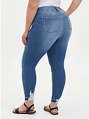 Bombshell Skinny Jean - Premium Stretch Medium Wash With Distressed Hem, LA BREA, alternate