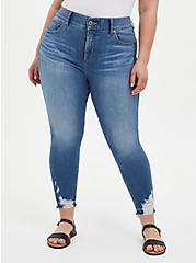 Bombshell Skinny Jean - Premium Stretch Medium Wash With Distressed Hem, LA BREA, hi-res