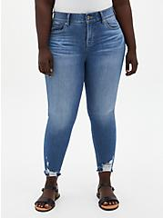 Bombshell Skinny Jean - Premium Stretch Medium Wash With Distressed Hem, , fitModel1-hires
