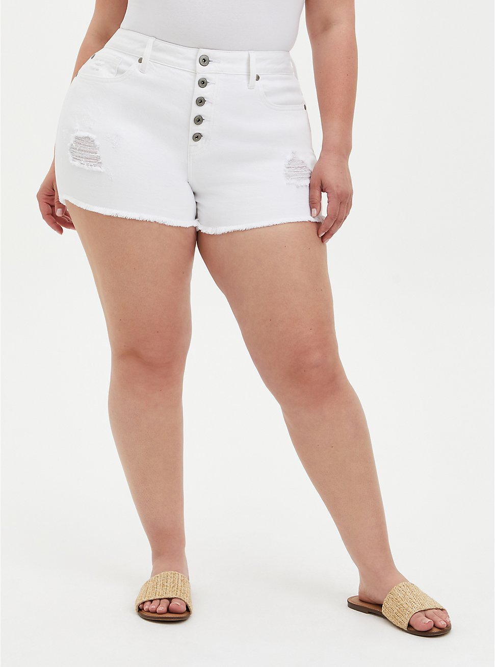 High Rise Shortie Short - Vintage Stretch White, OPTIC WHITE, hi-res