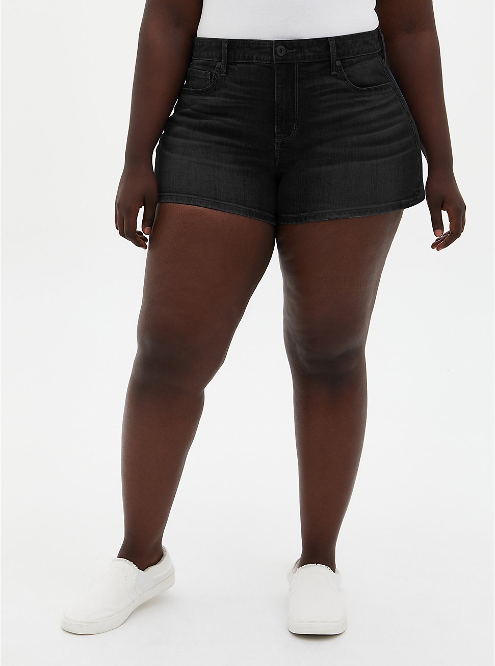 High Rise A-Line Shortie Short - Vintage Stretch Washed Black, , fitModel1-hires