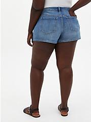 Plus Size High Rise A-Line Shortie Short - Vintage Stretch Medium Wash, , fitModel1-alternate