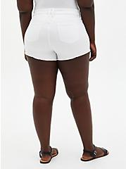 Plus Size Mid Rise Shortie Short - Vintage Stretch White, , fitModel1-alternate