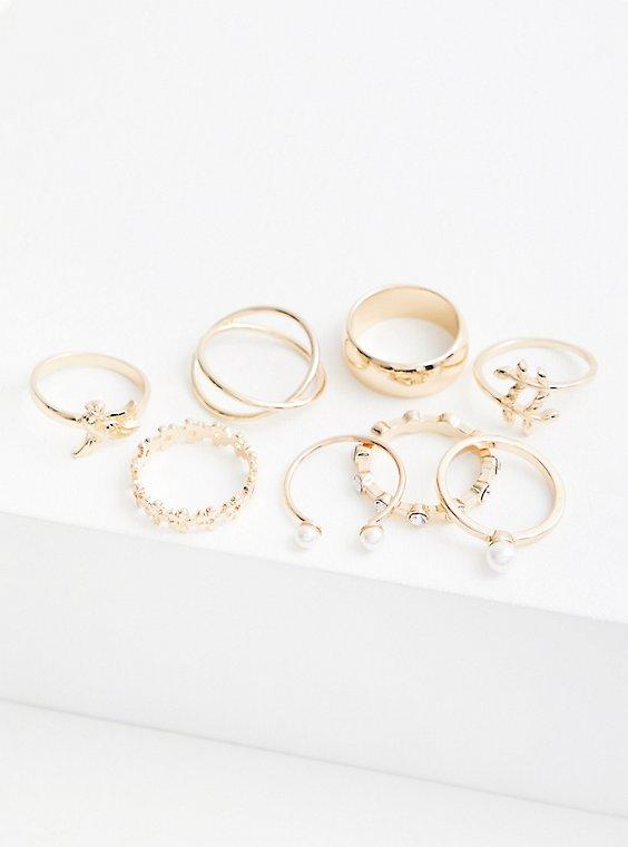 Gold-Tone Pearl & Leaf Ring Set - Set of 8, GOLD, hi-res