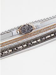 Grey Faux Druzy Magnetic Bracelet, GREY, alternate