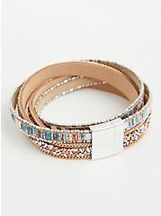 Faux Turquoise Criss Cross Magnetic Bracelet, TURQUOISE, alternate