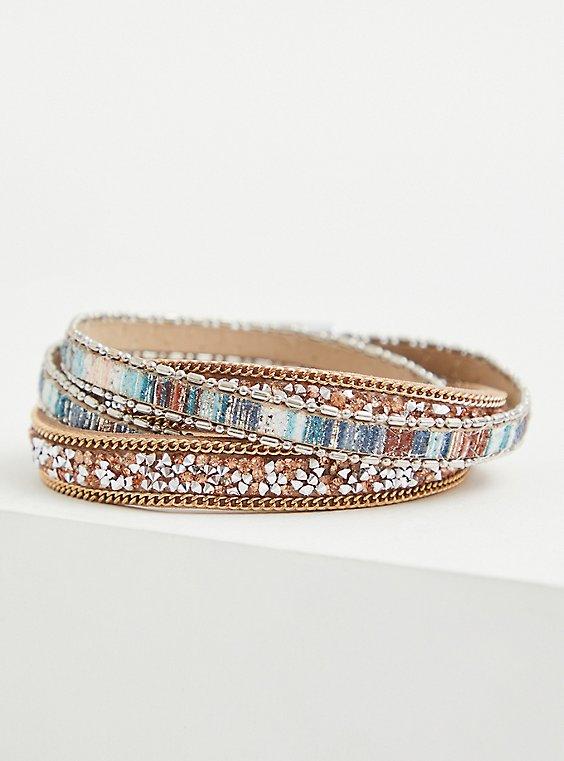 Faux Turquoise Criss Cross Magnetic Bracelet, , hi-res