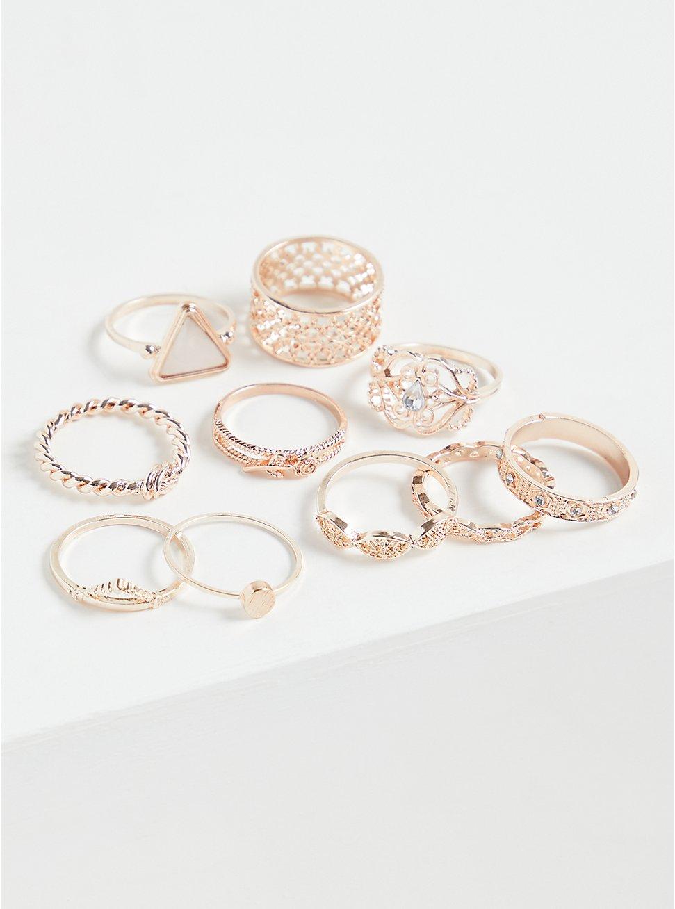 Plus Size Rose Gold-Tone Opal Ring Set - Set of 10, GOLD, hi-res