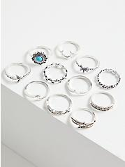 Silver-Tone Faux Turquoise Ring Set - Set of 11, TURQUOISE, alternate