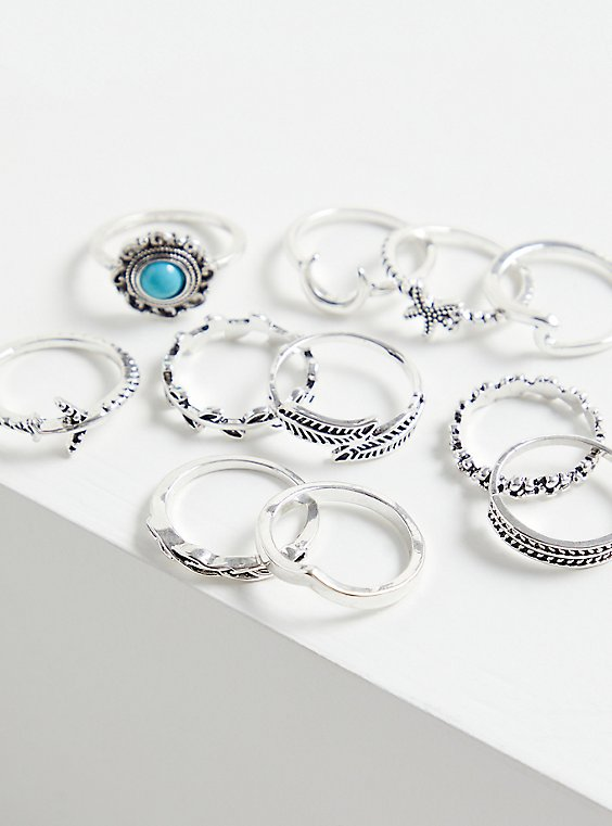 Silver-Tone Faux Turquoise Ring Set - Set of 11, , hi-res