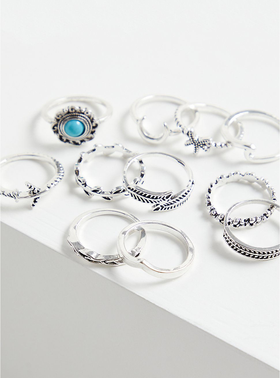 Silver-Tone Faux Turquoise Ring Set - Set of 11, TURQUOISE, hi-res