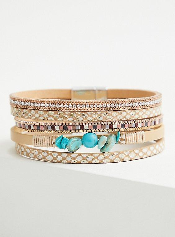 Neutral & Faux Stone Magnetic Bracelet, TURQUOISE, hi-res