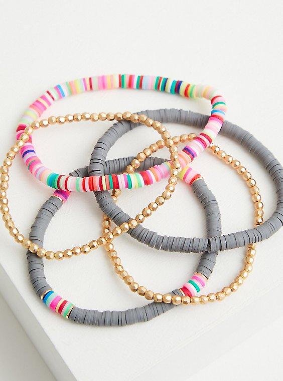 Gold Tone & Grey Beaded Stretch Bracelets, GREY, hi-res