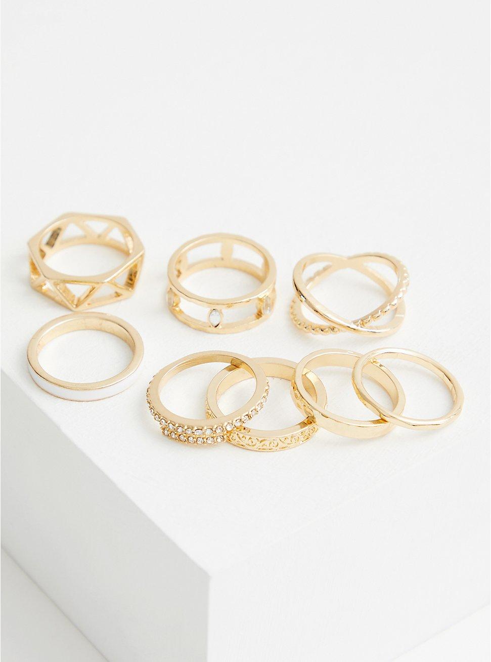 Gold Tone & White Ring Set - Set of 8, WHITE, hi-res