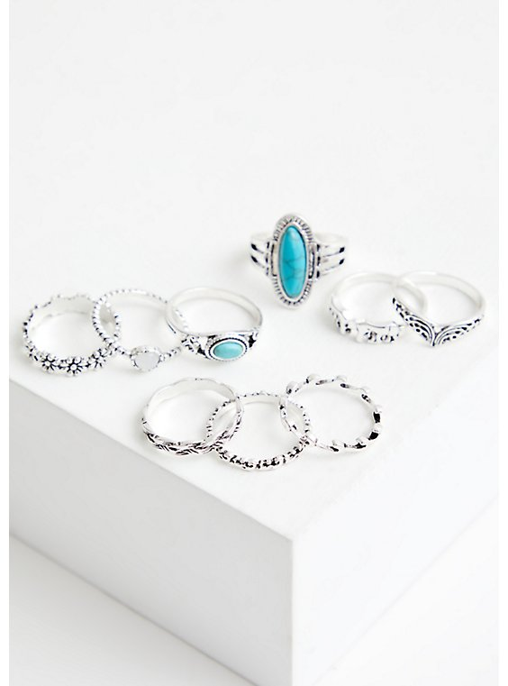 Silver Tone & Faux Turquoise Ring Set - Set of 9, , hi-res