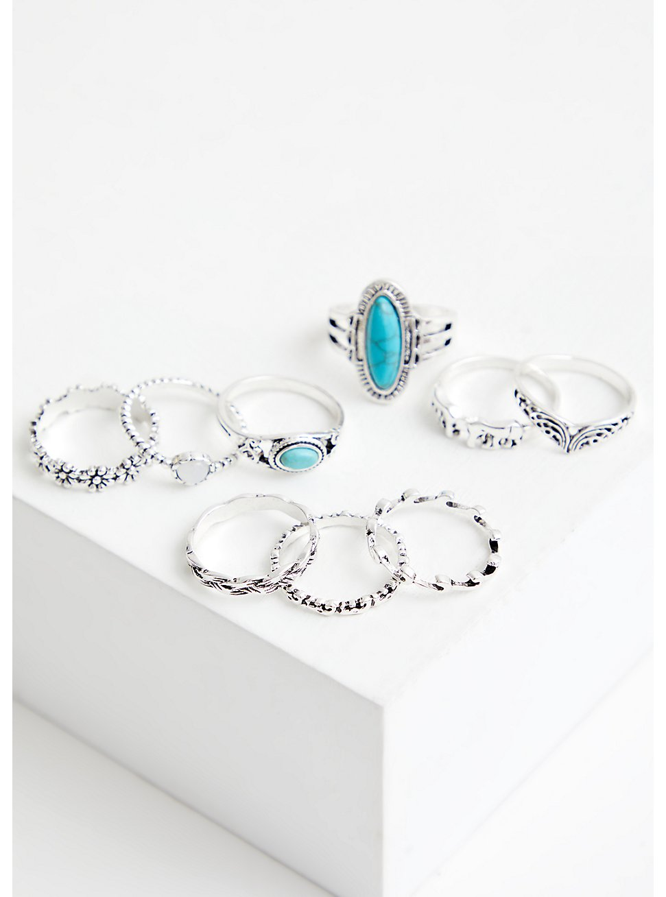 Silver Tone & Faux Turquoise Ring Set - Set of 9, TURQUOISE, hi-res