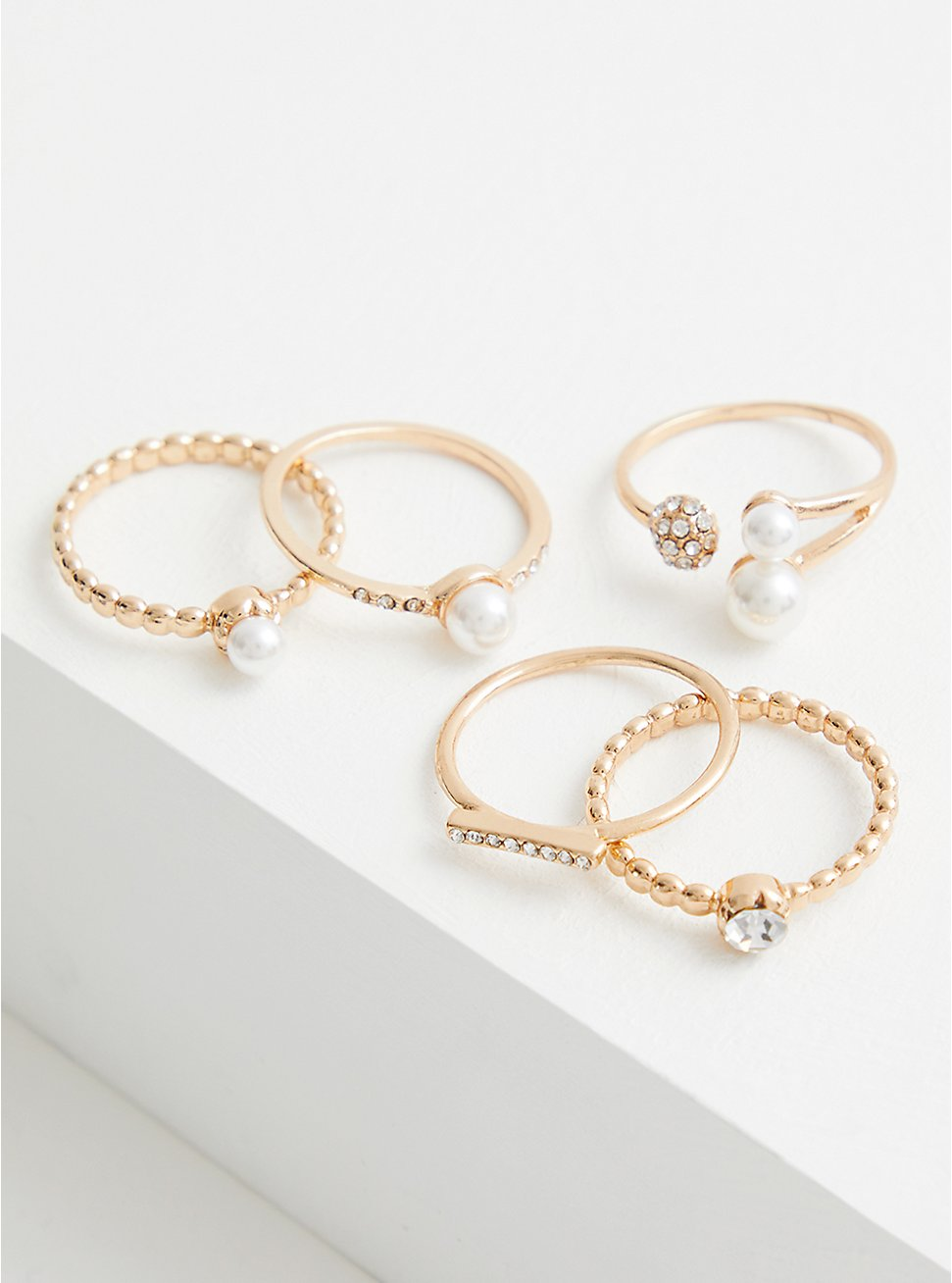 Gold Tone Faux Pearl Ring Set - Set of 5, GOLD, hi-res