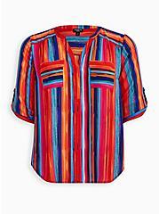 Harper - Rainbow Brush Strokes Georgette Pullover Blouse , STRIPE - MULTI, hi-res