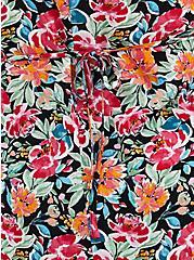Black Floral Crinkle Gauze Hi-Low Tunic, FLORAL - BLACK, alternate