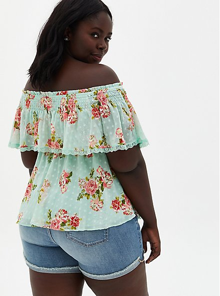 Plus Size Green Floral Off-The-Shoulder Smocked Ruffle Top , FLORAL - GREEN, alternate