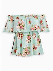 Green Floral Off-The-Shoulder Smocked Ruffle Top , FLORAL - GREEN, alternate