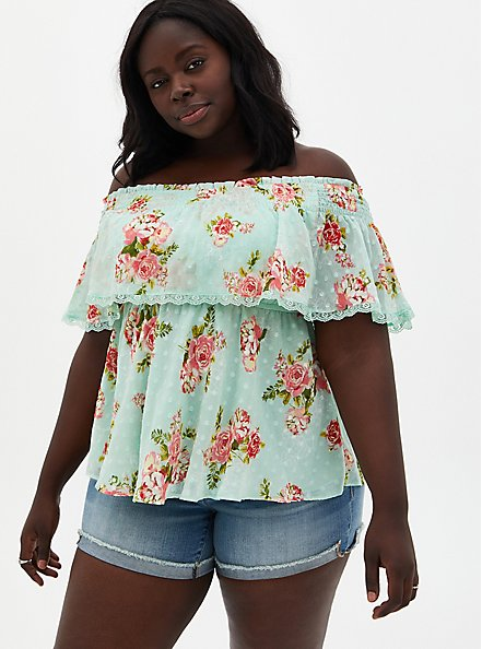 Plus Size Green Floral Off-The-Shoulder Smocked Ruffle Top , FLORAL - GREEN, hi-res