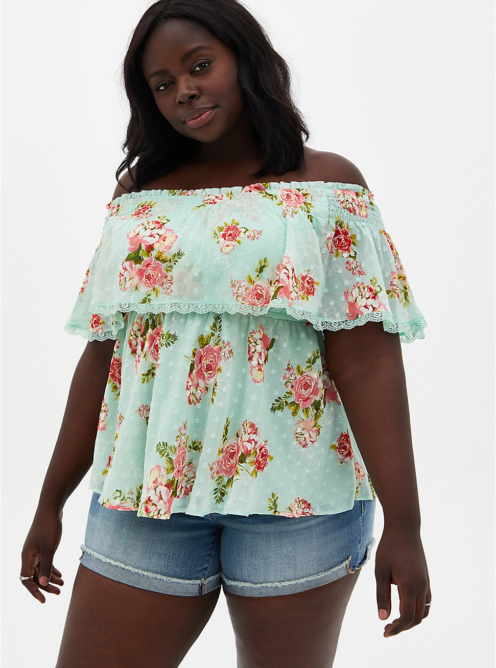 Green Floral Off-The-Shoulder Smocked Ruffle Top , FLORAL - GREEN, hi-res