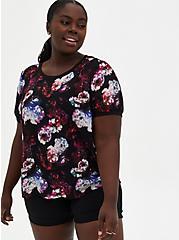 Black Floral Crinkle Clip Dot T-Shirt, FLORAL - BLACK, hi-res