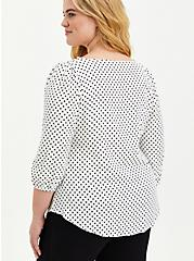 White & Black Polka Dot Button-Front Puff Sleeve Woven Top, DOTS - BLACK, alternate