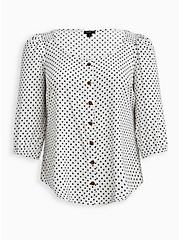 White & Black Polka Dot Button-Front Puff Sleeve Woven Top, DOTS - BLACK, hi-res