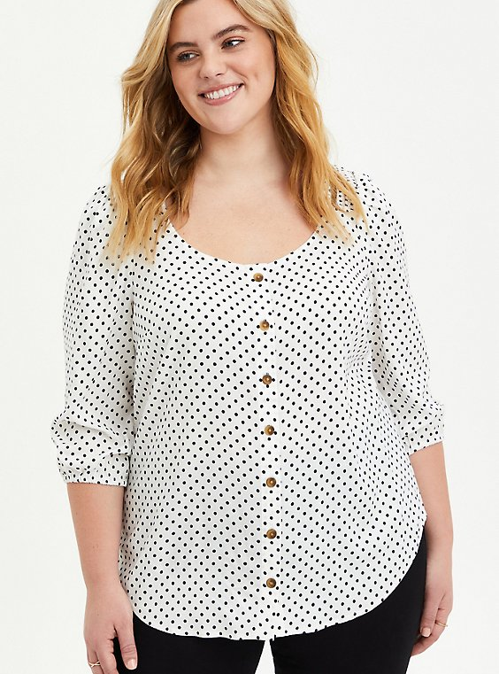White & Black Polka Dot Button-Front Puff Sleeve Woven Top, , hi-res