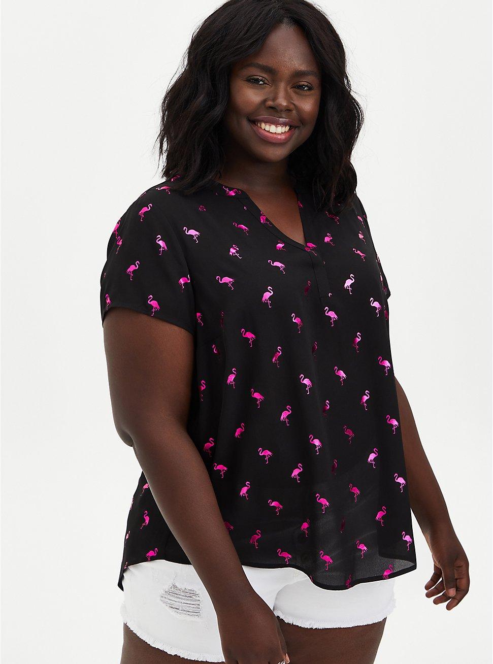 Black Flamingo Hi-Lo Georgette Blouse , FLAMINGO-BLACK, hi-res