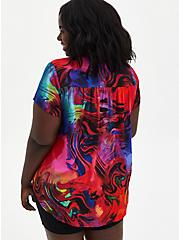 Multi-color Abstract Hi-Low Georgette Blouse, MULTI COLOR, alternate