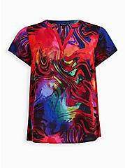 Multi-color Abstract Hi-Low Georgette Blouse, MULTI COLOR, hi-res