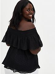 Black Off-the-Shoulder Smocked Ruffle Top , DEEP BLACK, alternate