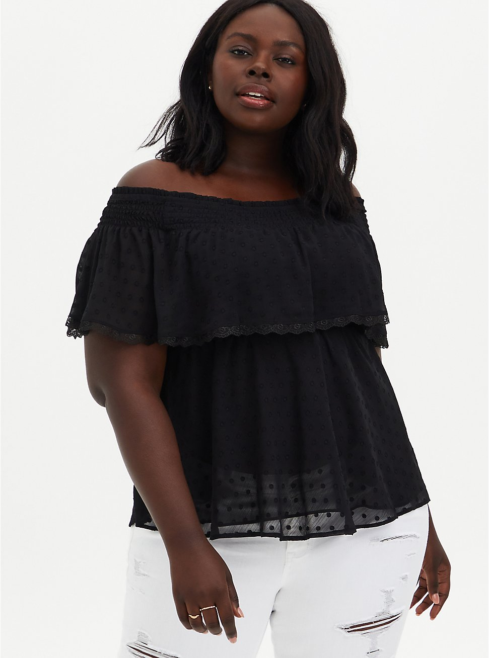 Black Off-the-Shoulder Smocked Ruffle Top , DEEP BLACK, hi-res