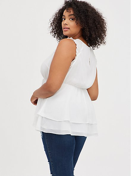 Lace Inset Babydoll Top - Crinkle Chiffon White , CLOUD DANCER, alternate