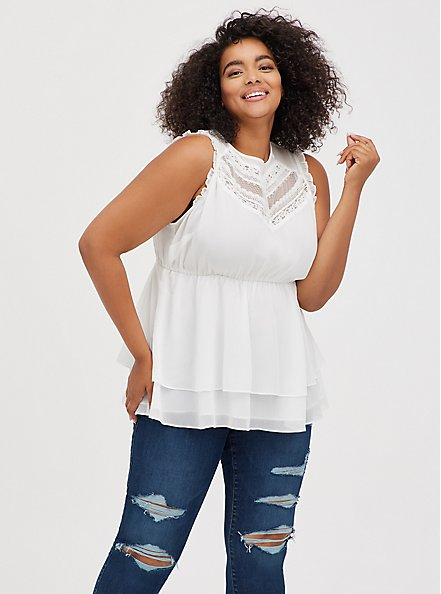 Lace Inset Babydoll Top - Crinkle Chiffon White , CLOUD DANCER, hi-res
