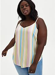 Ava - Multistripe Stretch Challis Cami, STRIPE - MULTI, hi-res