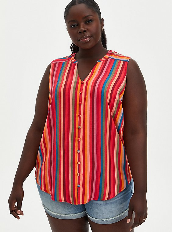 Harper - Multicolor Stripe Gauze Sleeveless Tunic, STRIPE - MULTI, hi-res