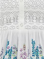 White Floral Gauze Crochet Babydoll Tank, FLORAL - WHITE, alternate