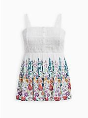 White Floral Gauze Crochet Babydoll Tank, FLORAL - WHITE, hi-res