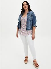 White Ditsy Floral Stretch Challis Fit & Flare Tank , FLORAL - WHITE, alternate