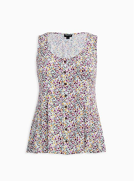 White Ditsy Floral Stretch Challis Fit & Flare Tank , FLORAL - WHITE, hi-res