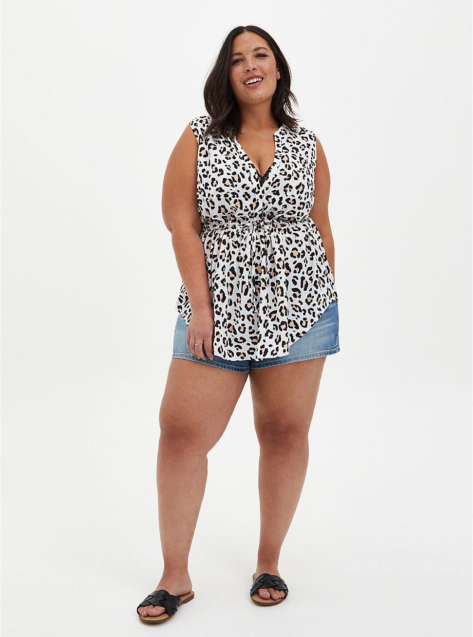 Emma - White Leopard Challis Babydoll Tunic, LEOPARD-WHITE, hi-res