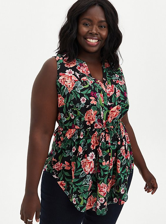 Emma - Black Floral Challis Babydoll Tunic, FLORAL - BLACK, hi-res
