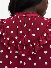 Red Dot Crinkle Chiffon Ruffle Blouse, DOTS - RED, alternate