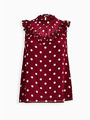 Red Dot Crinkle Chiffon Ruffle Blouse, DOTS - RED, hi-res